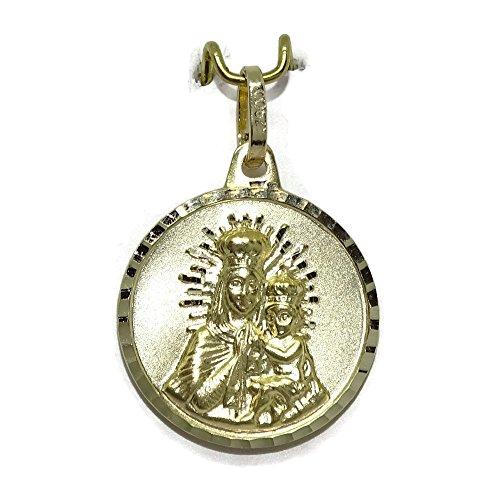 Escapulario con la Virgen del Carmen y el Sagrado Corazón en oro amarillo ley 375mm.