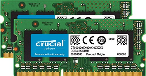 Crucial CT2KIT51264BF160B 8GB (4GB x 2) Speicher Kit (DDR3L, 1600 MT/s, PC3L-12800, SODIMM, 204-Pin) (Ecc-speicher-modul-kit)