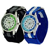2 X Reflex Kinder Zeitlernuhr blaues & schwarzes Klett Stoffarmband + Uhr Lesen Urkunde
