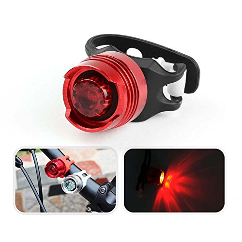 Bike Light - Sun Run Super Bright Waterproof Rear Aluminum LED Bike torch- Small Rugged- Road, Racing Mountain -Include Batteries - Suitable for Bicycles, Bcooter, Red (1 Pcs)