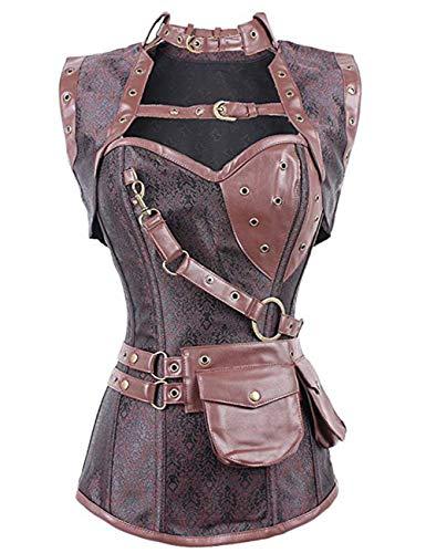 Kostüm Komplette Mittelalter - FeelinGirl Damen Korsett mit Stahlstäbchen - Brokatmuster - Retro/Gothic/Steampunk-Stahl ohne Knochen, Braun, M(EU 36)