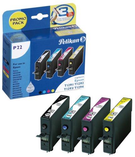 Pelikan P22 Druckerpatrone Promo Pack ersetzt Epson T129 540, 12 ml schwarz, 3 x 9 ml cyan/magenta/gelb - 12 Cyan Inkjet