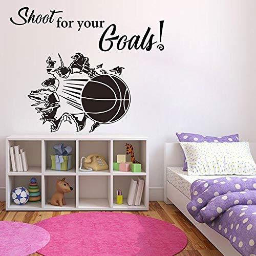 Basketball gebrochen durch wandtattoo sport zitat schießen für ihre ziele vinyl aufkleber für jungen schlafzimmer abnehmbare tapete 70X57CM