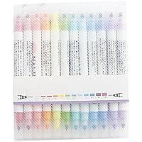 IrahdBowen 12-Color Filzstift Doppelkopf Textmarker Set Haut Marker Dekorative Markierungsstift Für Zeichnung Schreiben Hervorhebung und Unterstreichung Für Studenten
