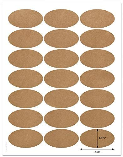 Textured Braun Kraft 6,3x 3,5cm Zoll Oval Etiketten mit Vorlage und Anleitung, 5Blatt, 105Etiketten (job25)