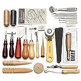 Dyna-Living 36 Stück Leder Craft Hand Arbeitswerkzeug einschließlich Nähen Groover Basic Hand Nähen Nähen Werkzeug Set Sattel Groover Leder Handwerk DIY Leder Artwork