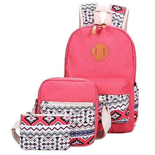 YiLianDa Tela Zaino Scuola Canvas Backpack Casual Ragazza Zaini Vintage Sacchetto di spalla Messenger Borse 3PCS set Rosso