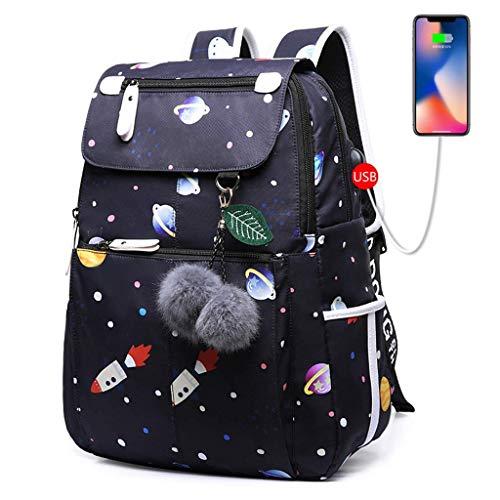 HYCy Weiblich Rucksack, USB Aufladen Student Tagesrucksack Drucken Notizbuch Und Laptop Taschen Hohe Kapazitauml;t Wasserdicht Reise Schultertasche (Farbe : F, grouml;szlig;e : 32 * 14 * 43CM)