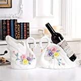 Yaunli Botella de Vino en Rack Creativa Moderna Cisne de cerámica de Alta Final del Vino Rack Regalos del Vino Ornamento Bandeja Europea Crafts Almacenamiento botellero Plegable