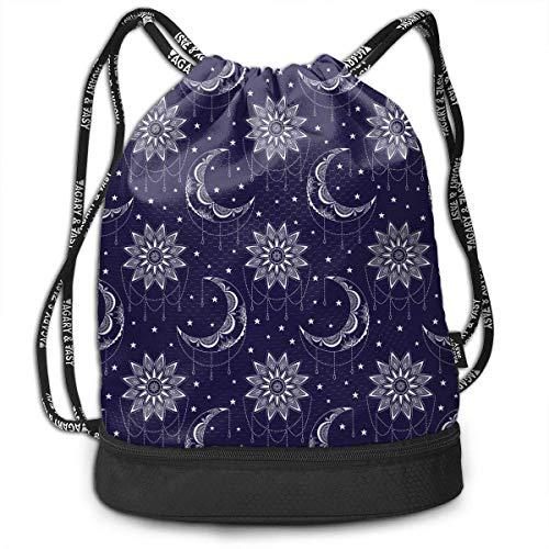 Moon Sun and Stars Rucksack mit Kordelzug für Herren und Damen, Original-Tragetaschen aus 100% Polyester