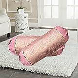 Tanya's Homes Set Of 2 Premium Silk Light Pink Designer Bolster Covers