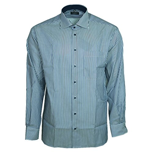 eterna Langarm Hemd Comfort Fit Twill Gestreift (Twill 100% Shirt Baumwolle)