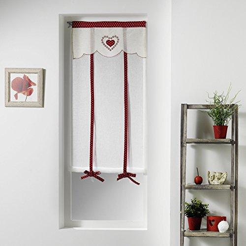 Couleur Montagne Carole Paire Droite Passe Tringle Motif Voile Sable/Top Brode, Polyester, Rouge, 150x60 cm