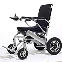 Wheel Electric Wheelchair Lightweight Folding Elderly Disabled Scooter Four-Powerchair, Drive with Electric Power Or Use As Manual Wheelchair