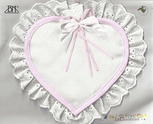 Fiocco nascita cuore piccolo da ricamare (rosa)