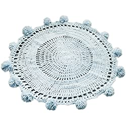 Livecity Fatto a Mano in Tessuto a Maglia Tappeto Crochet Baby Kids Play Mat Camera Bambini Home Decor, Light Blue, Large