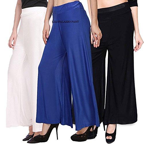 Lili's Women's Malai Lycra Palazzo Pant Combo (Pack-3) White,Blue,Black-Free Size