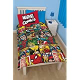 DC Universe - Juego de sábanas para cama infantil (sábanas de 140x200cm, funda de almohada de 50x75cm), diseño de Marvel Comics, Spiderman, Captain America, Hulk