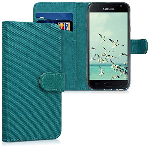 kwmobile Samsung Galaxy J3 (2017) DUOS Hülle - Nylon Handyhülle Wallet Handy Case für Samsung Galaxy J3 (2017) DUOS mit Standfunktion