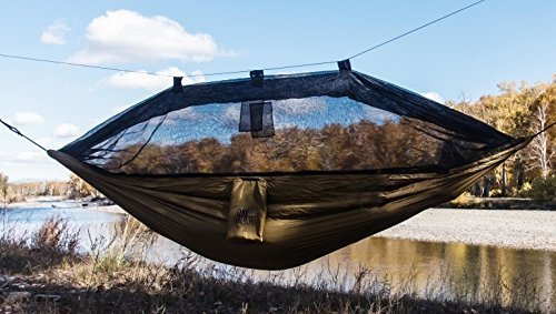 OneTigris Camping Hängematte mit Moskitonetz (inkl. Karabiner und Seile) Belastbarkeit 200kg (Braun)