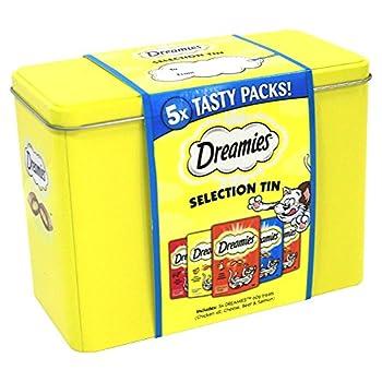 Dreamies cadeau boîte de Noël sélection 300g comprend le poulet x2, le fromage, le boeuf et le saumon. 5 paquets savoureux!