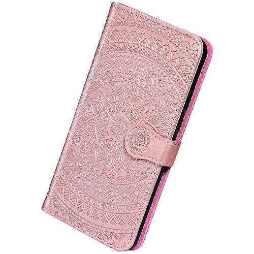 Herbests Kompatibel mit Samsung Galaxy S7 Edge Handyhülle Hülle Flip Case Sonnenblume Muster Leder Schutzhülle Klappbar Bookstyle Lederhülle Leder Tasche mit Magnet Kartenfach,Rose Gold -