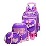 Schulrucksack Mädchen Teenager - Kinder Trolley Schultasche 3 Stück Set mit Handtasche Lunch Tasche Sechs Räder PU-Haut Wasserdichte Laptoptasche Rucksack besbomig
