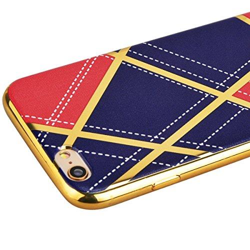 iPhone 6S Plus Coque Etui, HB-Int 3 en 1 Coque iPhone 6 Plus / iPhone 6S Plus Soft Gel Silicone TPU Coque Housse avec Placcatura Cover Couleur Stitching Motif Housse Téléphone Portable Étui Ultra Minc Bleu
