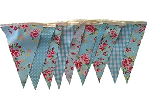 Blue Vintage Springtime Floral Mix Cotton Single Sided Shabby Chic
