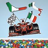 azutura Formel Rennwagen Wandaufkleber Italienisch Flagge Wandtattoo Jungen Sport Wohnkultur Erhältlich in 8 Größen Extraklein Digital