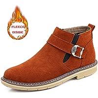 Lingqiqi Bota de Hombre Botas de Tobillo de Cuero Genuino de Ocio Gentleman Suede Punta Redonda High-Top Zapatos de Trabajo (un tamaño más Grande) Invierno (Color : Warm-Brown, tamaño : 46 EU)