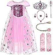 JerrisApparel Niña Disfraz de Princesa Vestito Lentejuela Partido Tul Abito