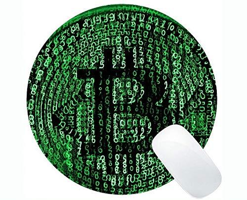 Runde Mausunterlage Anti-Rutsch, Geld Bitcoin Währung Runde Mausunterlage mit genähtem Rand