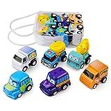 GSYClbf 6 Stücke Cartoon Zurückziehen Diecast Car Truck Modell Kinder Kleinkinder Spielzeug Party Favors 6 Stück