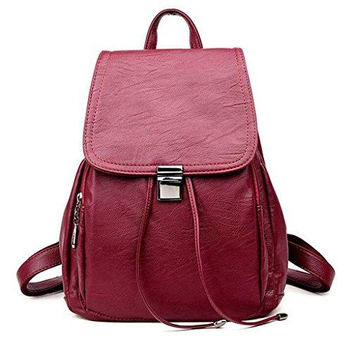 Y&F Damenbeutel Rucksack Reisetasche Handtasche Rucksack Schulranzen 27 * 16 * 33 Red