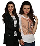 Women's Net Shrug with Printed Top(Pack ...