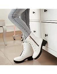 &ZHOU Botas otoño y del invierno botas cortas mujeres adultas 'Martin botas botas Knight A4-8 , white , 41