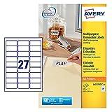 Avery Zweckform L4737REV-25 Etiketten (A4, 675 Plus 135 Universal-Etiketten extra, ablösbar, 63,5 x 29,6 mm) 30 Blatt, weiß