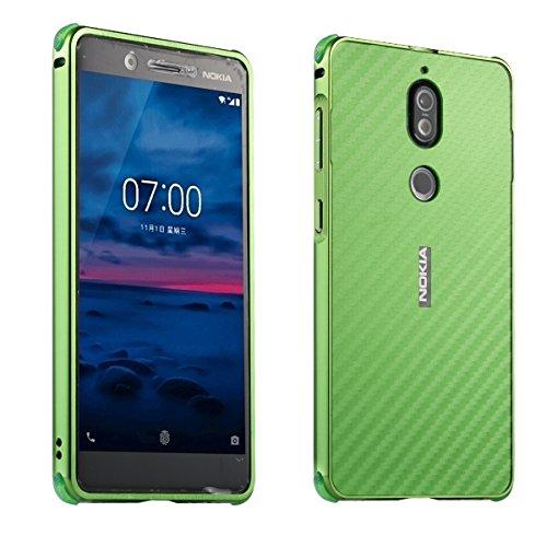 Nokia 7 Carbon Fiber Look Kohlefaser Optik FederLeicht Hülle Bumper Cover Schutz Tasche Schale Hardcase für Nokia 7, Grün