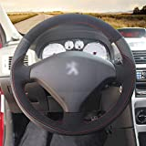 HCDSWSN Cuero Negro de Microfibra Funda del Volante del Coche de Gamuza Negra para Peugeot 307