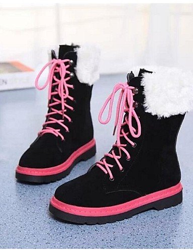 ShangYi Mode Frauen Schuhe Damen Schuhe Herbst/Winter Combat Boots PU im Flachen Ferse Schnürschuh, Schwarz/Blau Andere Blau
