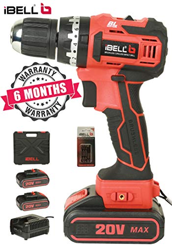 iBELL BM18-60 20V Brushless Impact Driver Drill (Cordless) with 2 Batteries, Charger, Case and Screw Driver Bits - 6 Months Warranty.