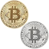 ensemble de 2 dorés et argentés avec des collecteurs de ronde monnaie bitcoin commémorative boîte de collecte