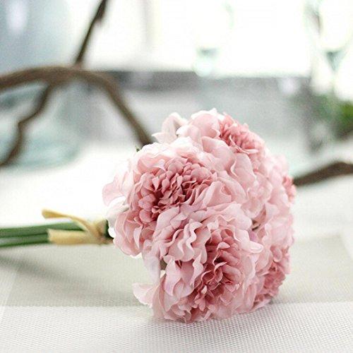 LuckyGirls Unechte Blumen,Künstliche Deko Blumen Gefälschte Blumen Seiden Pfingstrose Plastik Blumenstrauß 5 Köpfe Braut Hochzeitsblumenstrauß für Haus Garten Party Blumenschmuck (B)