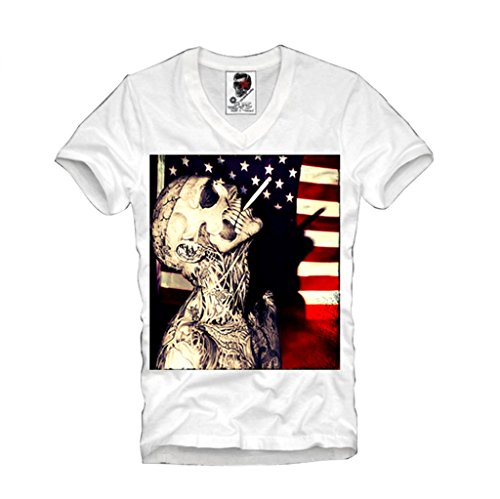 E1SYNDICATE V-NECK T-SHIRT WASTED YOUTH LONDON ELEVEN BOY ZOMBIE CO S-XL