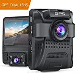 Dual Lens Dash Cam Built-in GPS in Car Dashboard Camera Crosstour 1080P Front