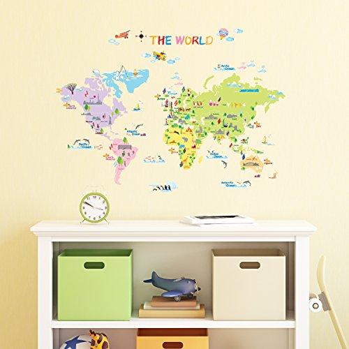 Decowall DW-1203 Mapamundi Multicolor Vinilo Pegatinas Decorativas Adhesiva Pared Dormitorio Salón Guardería Habitación Infantiles Niños Bebés (English Ver.)
