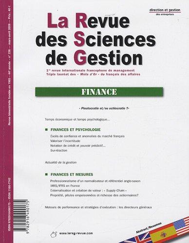 La Revue des Sciences de Gestion, N° 236, Mars-avril 2 : Finance par Philippe Naszalyi, Collectif