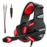 Gaming Headset Micolindun Headphone Gamer Microphone Lightweight Comfortable Adjustable Mic LED for PS4, PC, Laptop, Tablet, Phone, MAC with 3.5mm Over-Ear Bass Stereo Surround Sound Volume Control (Adapter Include)