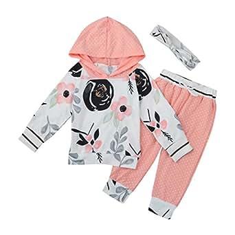 Kleinkind Blumen Gestreift Mit Kapuze Tops + Hosen Outfit Säugling Baby Mädchen Junge Kleider Set_Hirolan (70cm, Rosa)